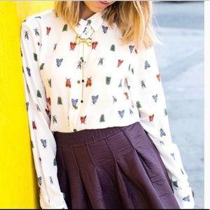 H&M Novelty Bug Print Ivory Button Up Shirt Size 8